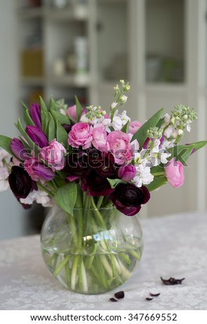 beautiful bouquet of colorful spring flowers - stock photo