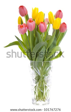 Beautiful bouquet of colorful spring tulips in a crystal vase isolated on white background