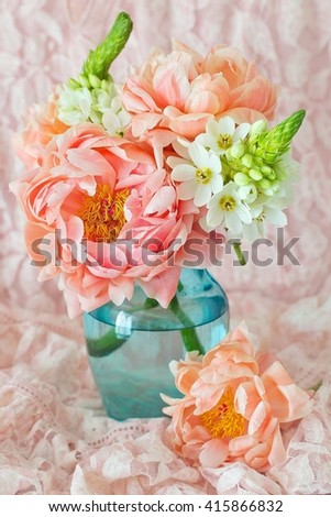 Beautiful bouquet of flowers.Close-up floral composition with a peonies .  - stock photo