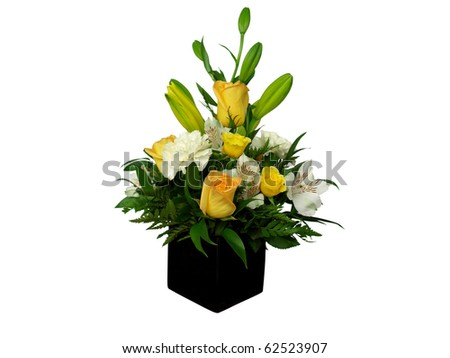 Beautiful bouquet of flowers in black vase; isolated on white - stock photo