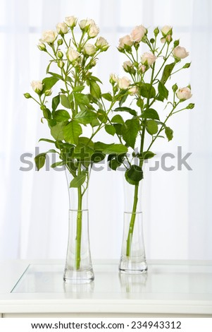 Beautiful Bouquet Flowers Vases On Window Stock Photo Royalty Free