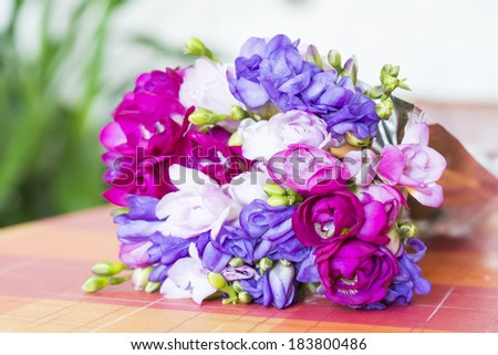 Beautiful bouquet of freesias