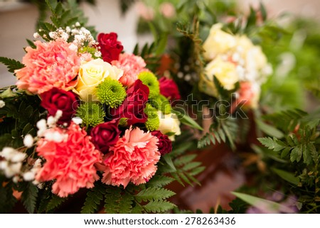 Beautiful bouquet of fresh flowers - stock photo