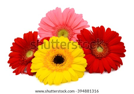 Beautiful bouquet of gerbera flowers isolated on white background - stock photo