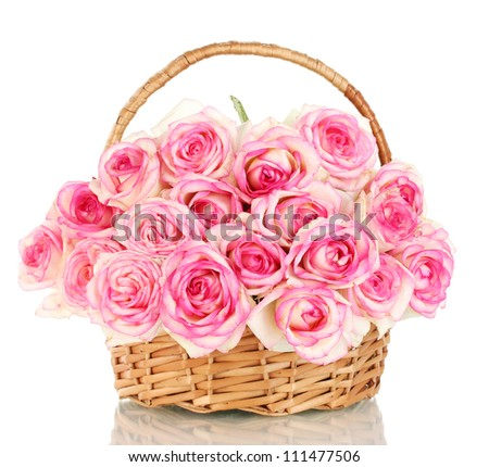 beautiful bouquet pink roses basket isolated stock photo, Beautiful flower