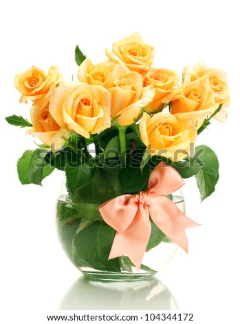 beautiful bouquet of roses in transparent vase isolated on white - stock photo