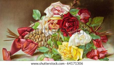 Beautiful bouquet of roses, vintage illustration - stock photo