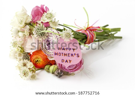 Beautiful bouquet of Spring flowers for Mother's Day with a card