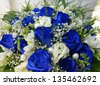 Beautiful bouquet with blue roses - stock photo
