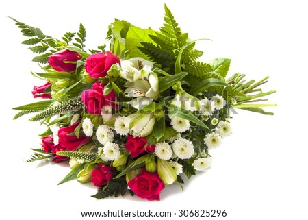 Beautiful bouquet with pink roses isolated over white - stock photo