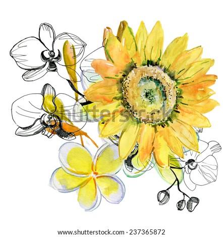 Beautiful bouquet. Yellow sunflower - stock photo