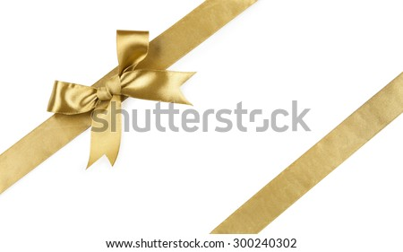 Beautiful bow gold color isolated on white background. - stock photo