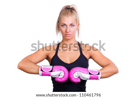 beautiful boxing girl wearing pink gloves - isolated on white background - stock photo