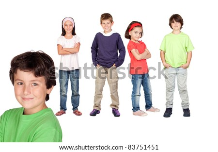 Beautiful boy and his friends isolated on a over white background - stock photo