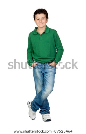Beautiful boy dressed in green isolated on a over white background