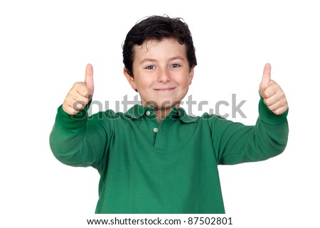 Beautiful boy dressed in green saying Ok isolated on a over white background - stock photo