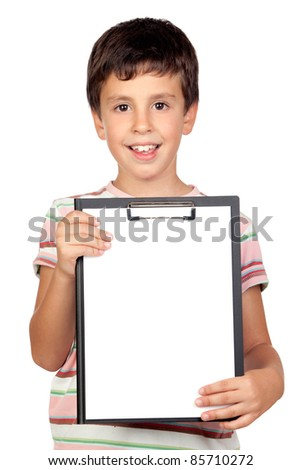 Beautiful boy with clipboard isolated on a over white background - stock photo