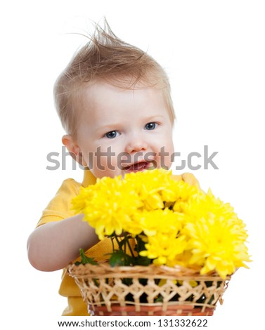 beautiful boy with flowers, isolated on white - stock photo