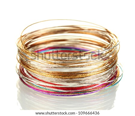 Beautiful bracelet isolated on white background - stock photo