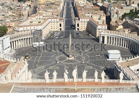 beautiful breath taking panoramic view of St. Peter's square in Vatican City 2 - stock photo