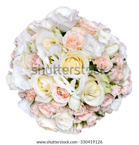 beautiful bridal bouquet at a wedding party,bunch of flowers. isolated - stock photo