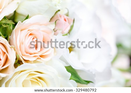 beautiful bridal bouquet of roses at a wedding party