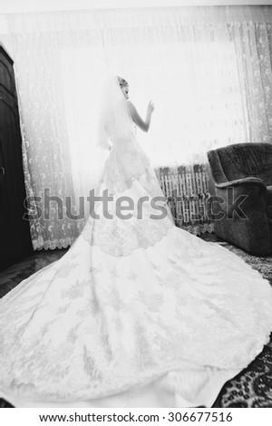 Beautiful bride at home morning - stock photo