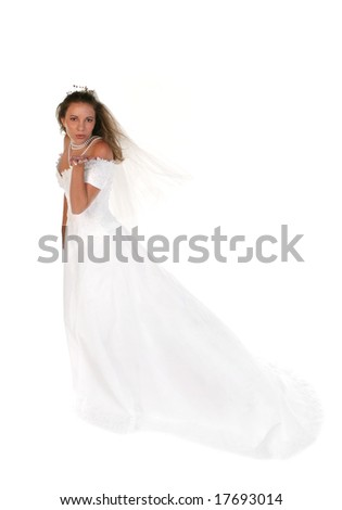 Beautiful Bride Blowing a Kiss From Her Hand Full Length Shot - stock photo