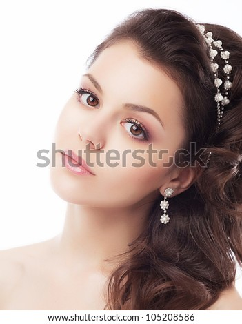 Beautiful bride face closeup - isolated on white background - stock photo