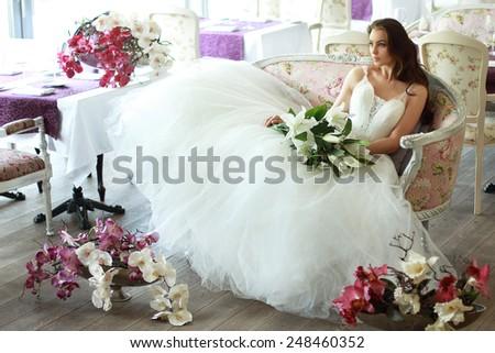 Beautiful Bride Magnificent White Wedding Dress Stock Photo