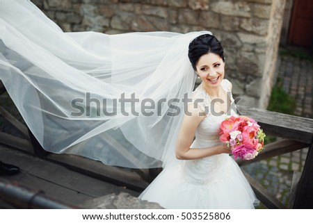 beautiful bride in a white dress with a long veil