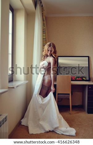 Beautiful Bride Lingerie Wearing Wedding Dress Stock Photo (Download ...