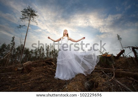 beautiful bride in the woods - stock photo