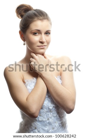 Beautiful bride in wedding dress - stock photo