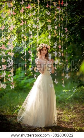Beautiful Bride White Dress Garden Stock Photo (Royalty Free ...