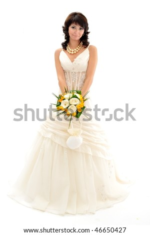 beautiful bride isolated on white background - stock photo