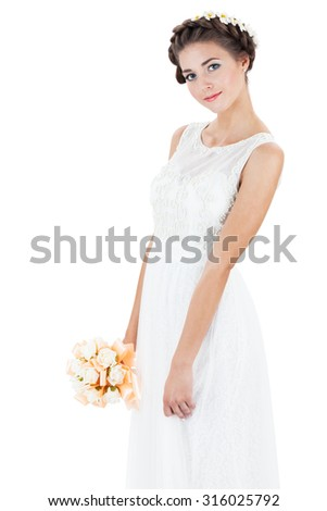beautiful bride on a white background - stock photo