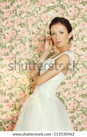 Beautiful bride on summer background, fashion portrait - stock photo