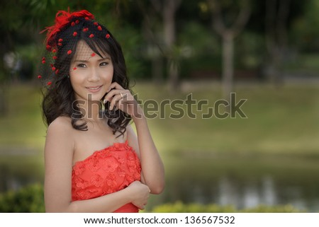 Beautiful bride outdoors in a parks.
