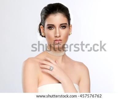 Beautiful Bride Portrait on her Wedding Day  - stock photo
