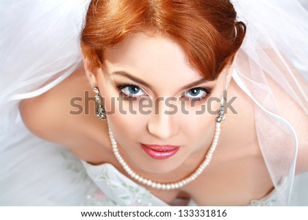 beautiful bride portrait with perfect bridal make up