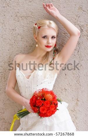 beautiful Bride posing - stock photo