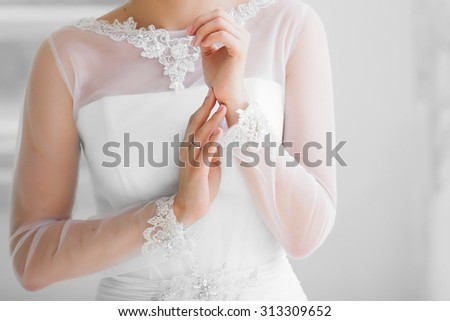 beautiful Bride's hands in the wedding day - stock photo