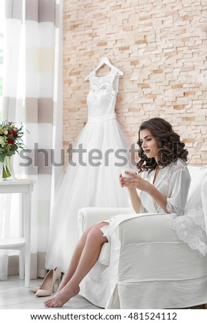 Beautiful bride waiting for groom