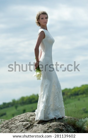 Beautiful Bride Short Hair Posing On Stock Photo 281139602 ...