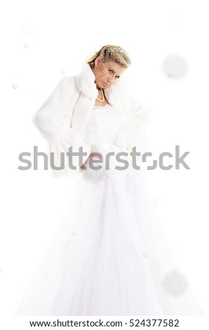 Beautiful bride with snow isolated on white