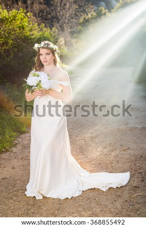 Beautiful Bride with Sun Rays