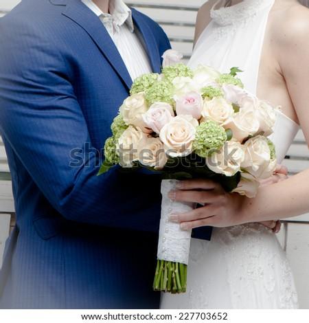 beautiful brides wedding  - stock photo