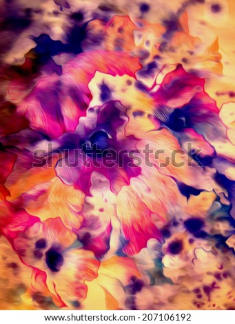 Beautiful bright abstract flowers in blue, pink and purple colors. Watercolor on paper. - stock photo