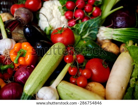 beautiful bright and fresh vegetables for the diet and weight loss, selection of vegetables for every meal to your table - stock photo